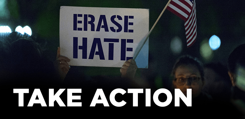Button to Take Action Erase Hate