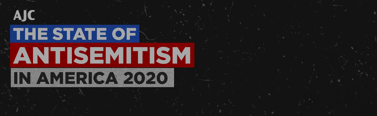 """The State of Antisemitism in American 2020"" on a dark gray background with an AJC logo"