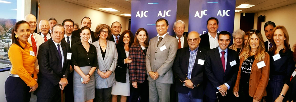 Photo of diplomats from 9 Latin American countries with AJC Director of Belfer Institute for Latino and Latin American Affairs