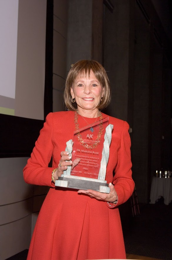 Marlene Bane receiving AJC's 2012 Ira E. Yellin Community Leadership Award
