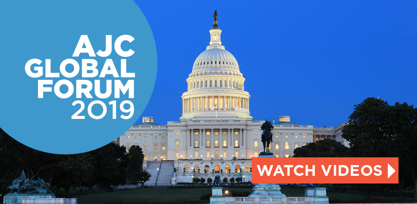 Graphic displaying AJC Global Forum 2019 Watch Videos