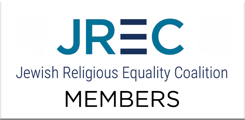 Graphic displaying the text JREC: Jewish Religious Equality Coalition Members