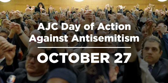 AJC National Day of Action Against ANtisemitism Photo of Worshippers Raising Arms