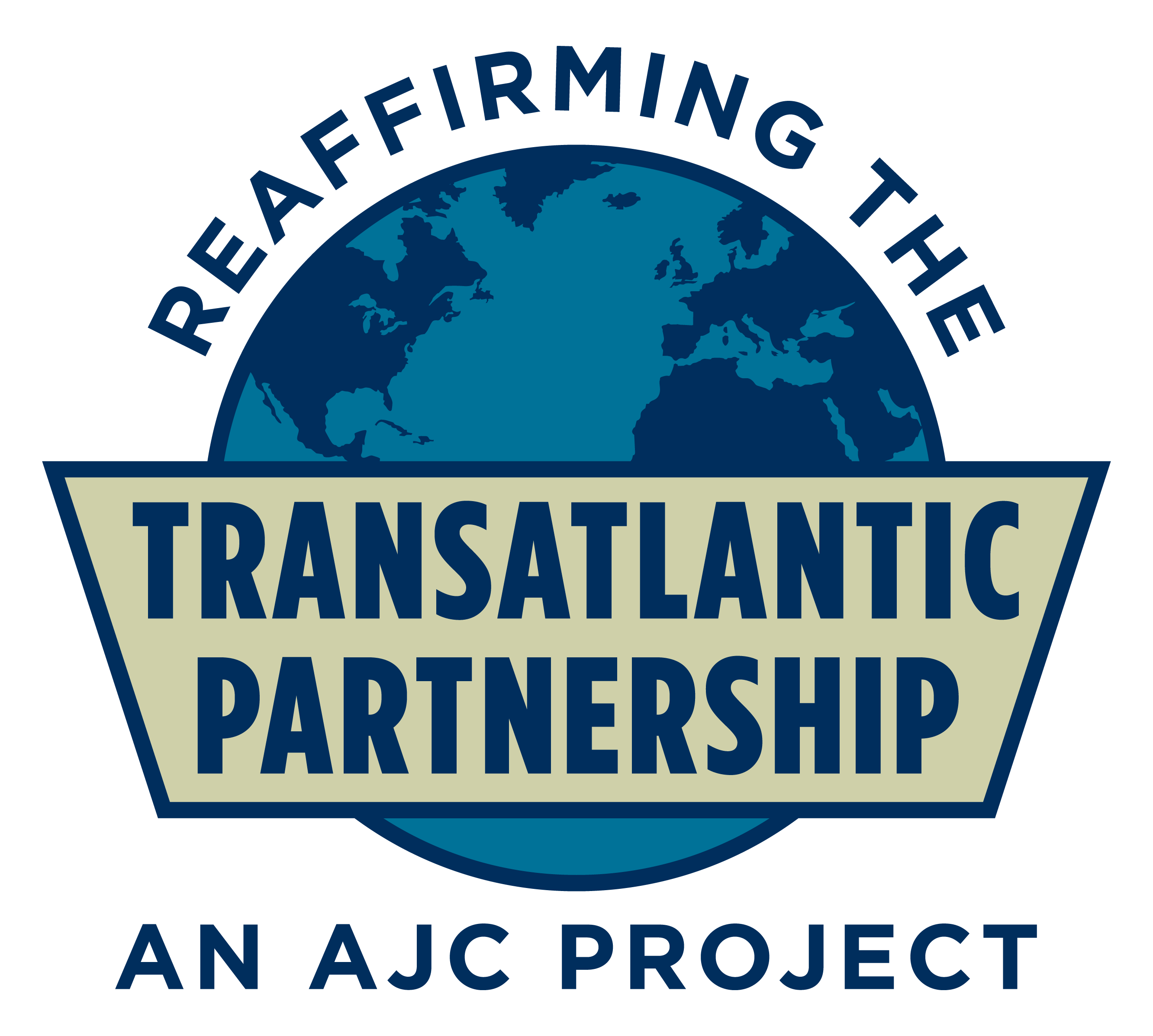 Graphic displaying a globe with the text Reaffirming the Transatlantic Partnership, an AJC Project