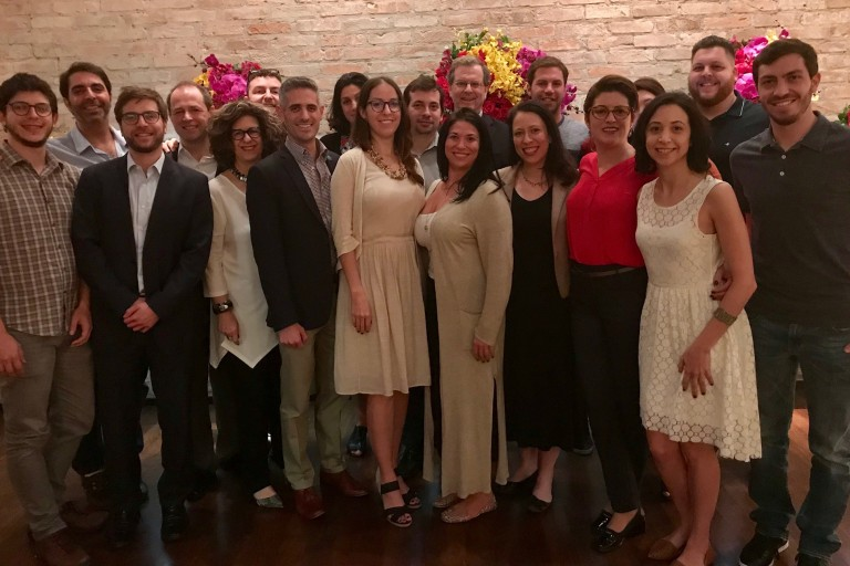 Photo of David Harris, Dina Siegel Vann, Dan Elbaum, and ACCESS members at the launch of ACCESS' Young Leadership Program in São Paulo, Brazil