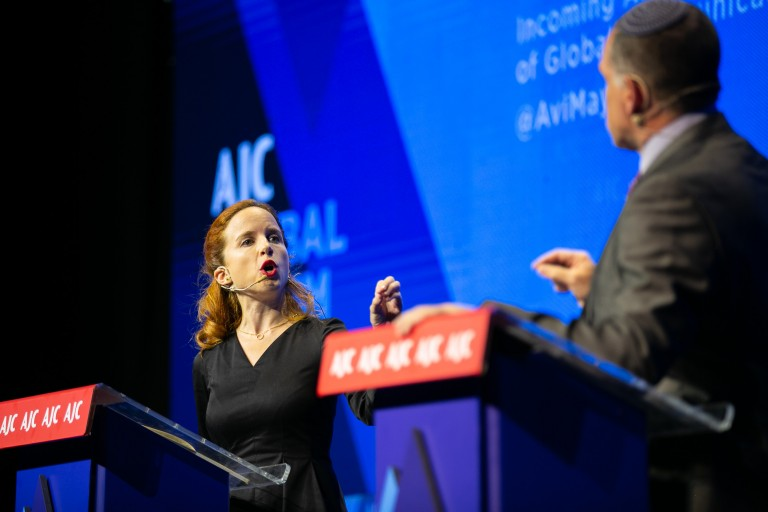Photo of Stav Shaffir and Oded Revivi at AJC Global Forum 2018 in Jerusalem