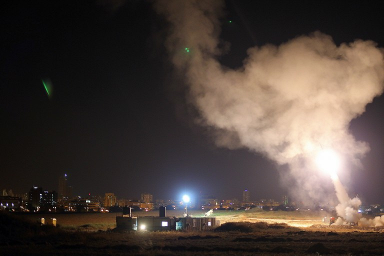 Photo of Iron Dome intercepting a rocket fired from the Hamas-controlled Gaza strip