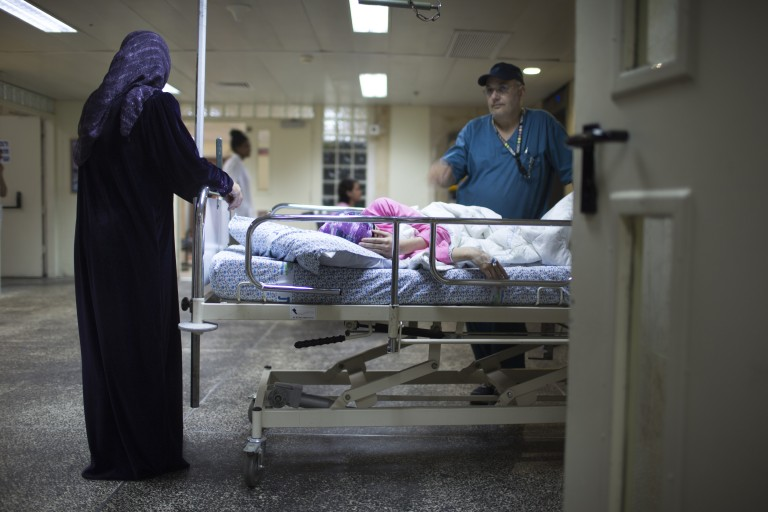 Photo of Syrian refugees being treated at an Israeli hospital
