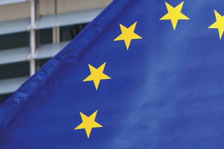 Photo of the EU flag in Brussels