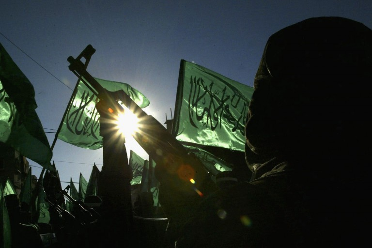 Hamas fighters protest Israel