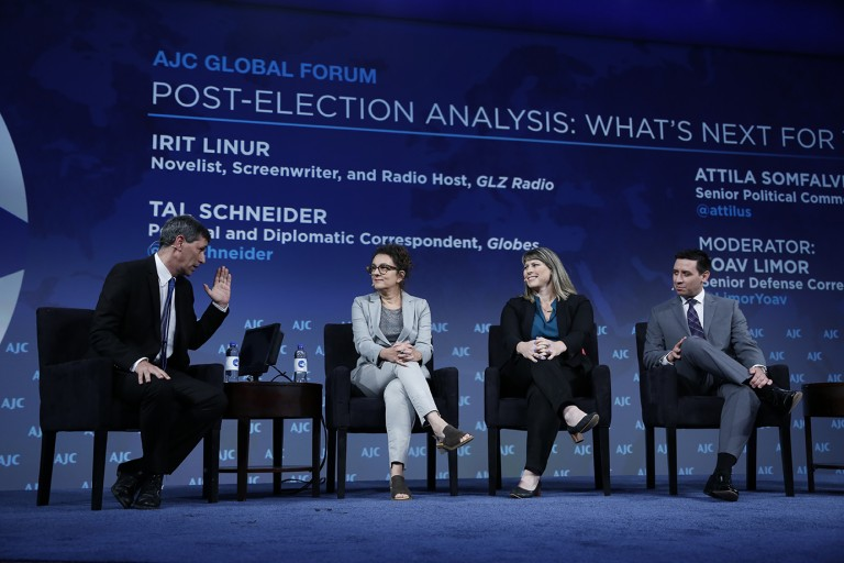 Photo of Irit Linur, Tal Schneider, Attila Somfalvi, and Yoav Limor discussing what's next for the Jewish State at AJC Global Forum 2019