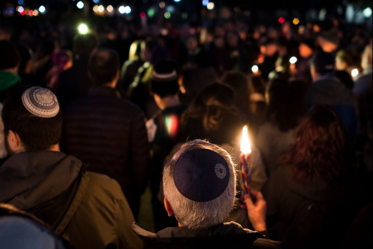 Photo from a vigil for Pittsburgh's Tree of Life Synagogue