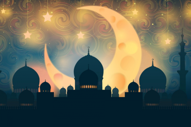 Crescent moon and mosques
