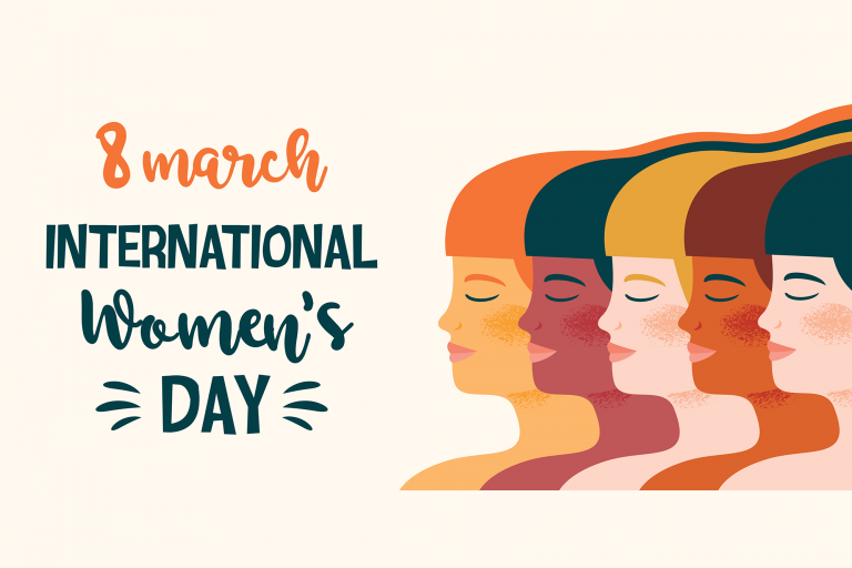 "Illustration of women with text that says ""March 8 International Womens's Day"""