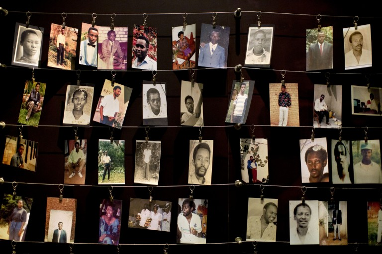 Photo of photos of victims of the Rwandan genocide