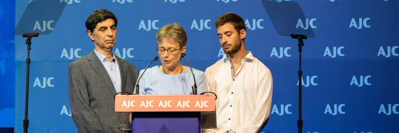 Photo of Leah, Simcha, Tzur Goldin speaking at AJC Global Forum 2018