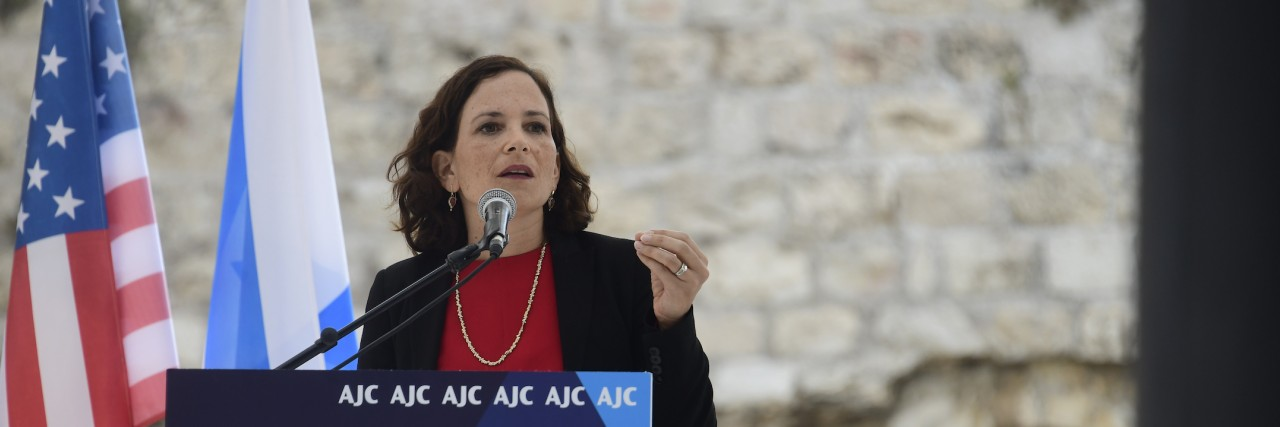 Photo of Israeli MK Rachel Azaria speaking at AJC Global Forum 2018