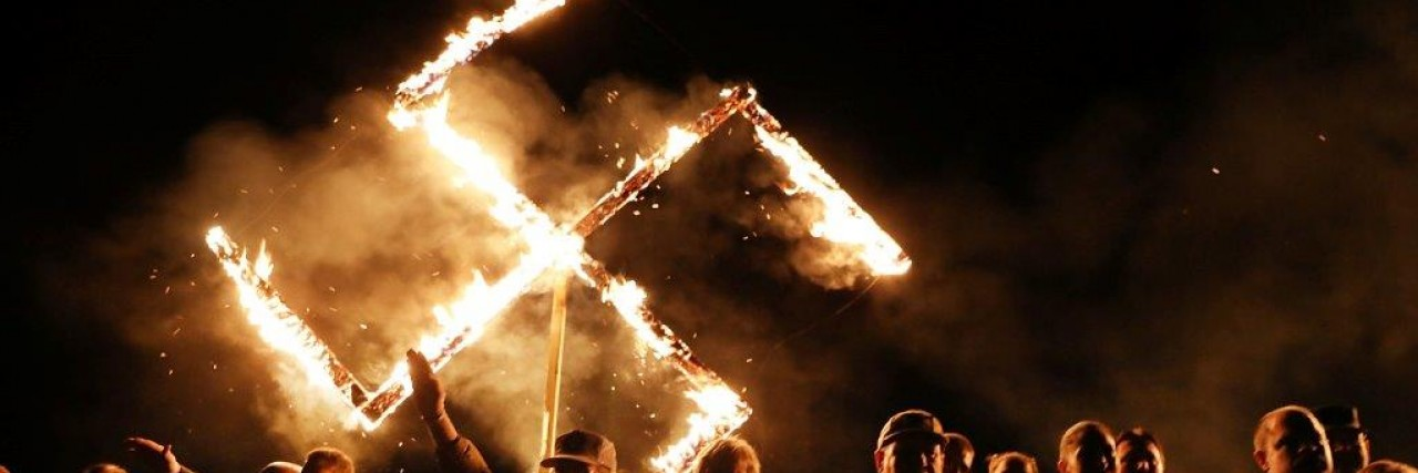 Flaming swastika