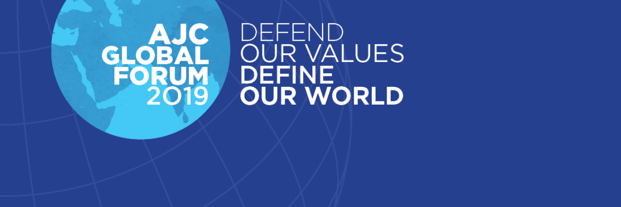 Graphic displaying AJC Global Forum - Defend our values. Define our world.