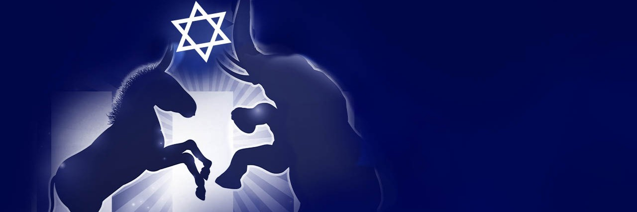 Graphic of a donkey and an elephant holding a star of David