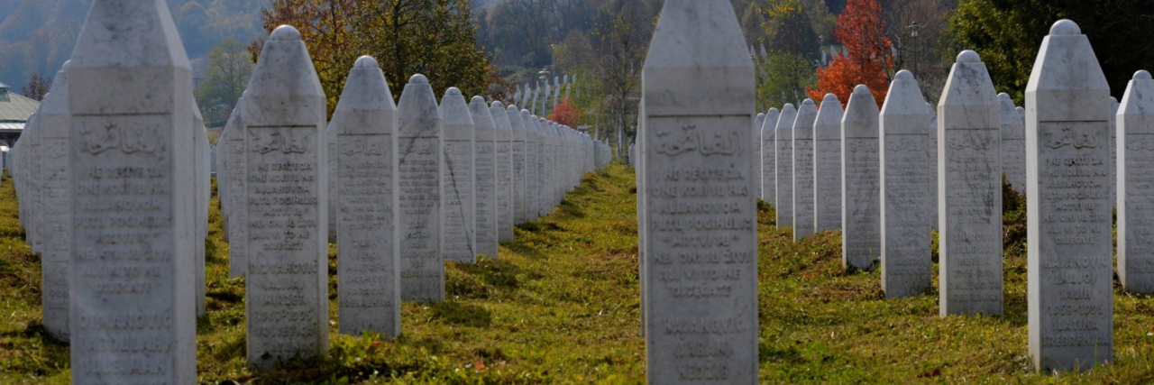 Muslim cemetery with headstones