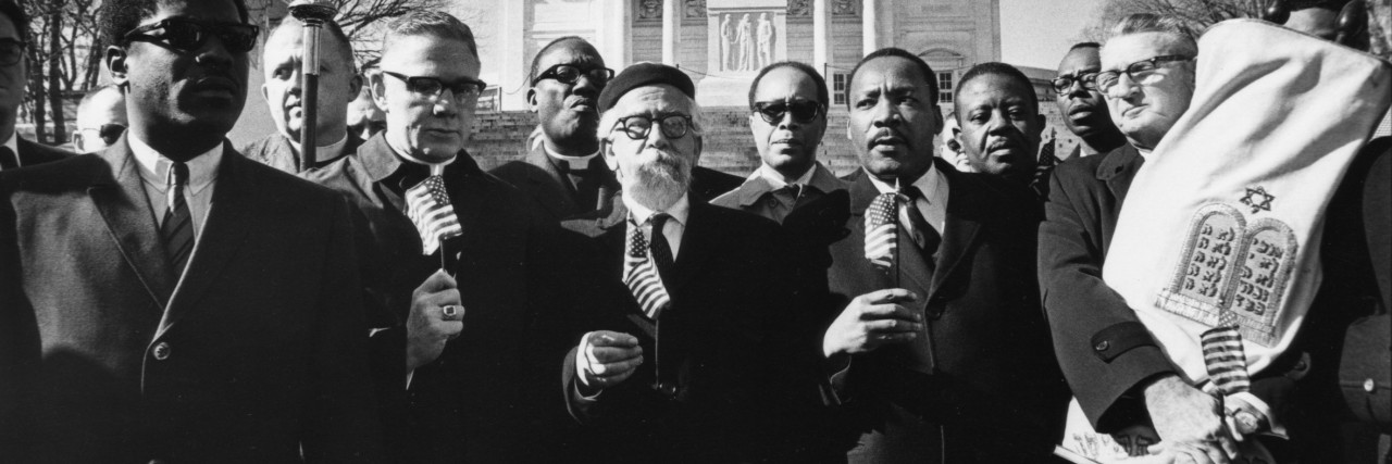 Heschel with civil rights leaders including MLK