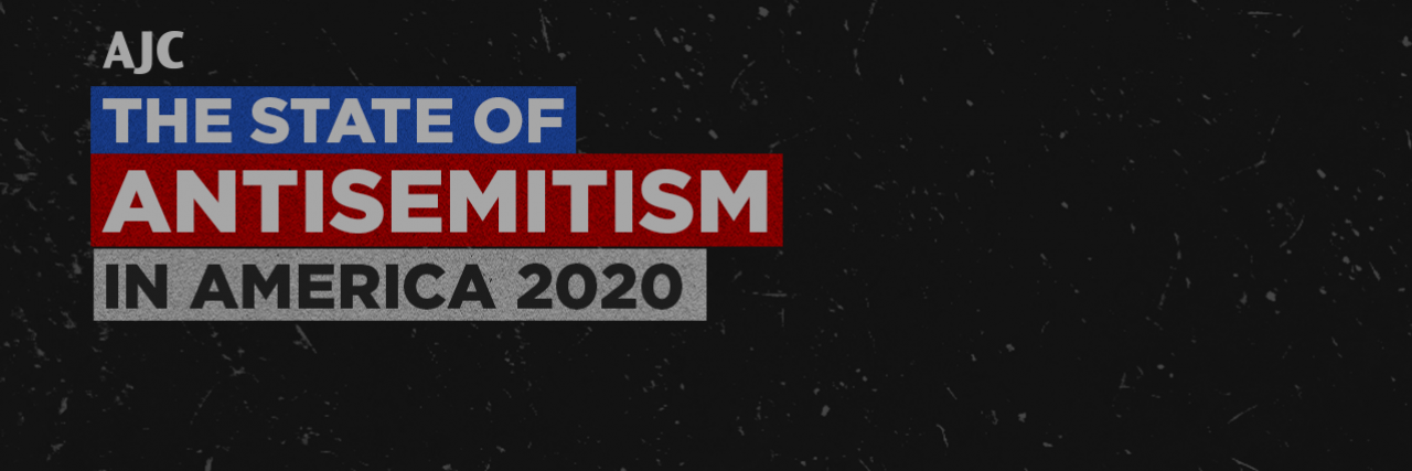 """The State of Antisemitism in America 2020"" written on a dark gray with a small AJC logo"