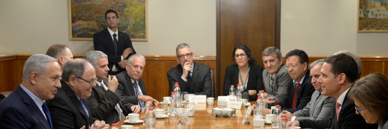 Photo of Brazilian government officials at the table with PM Netanyahu