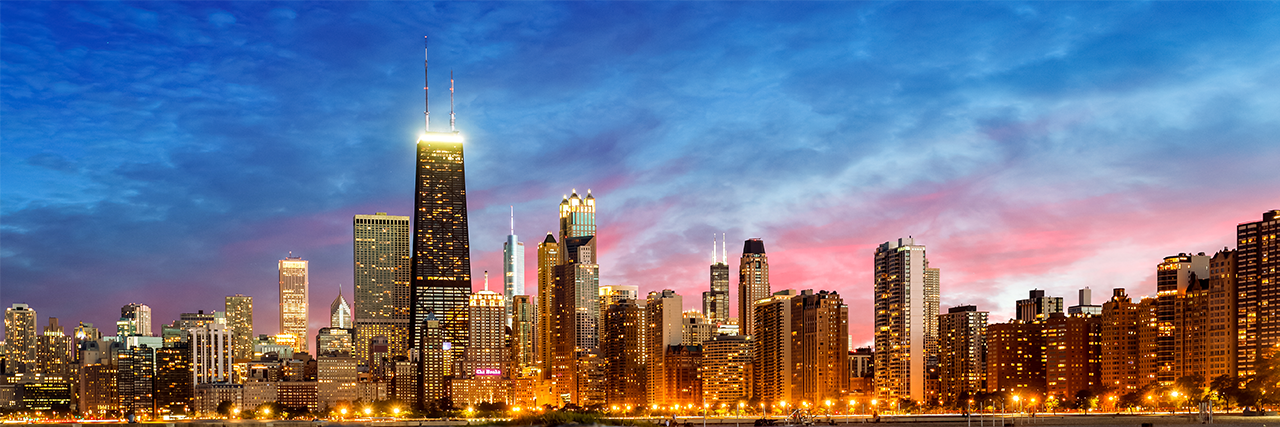 Photo of Chicago skyline at dusk