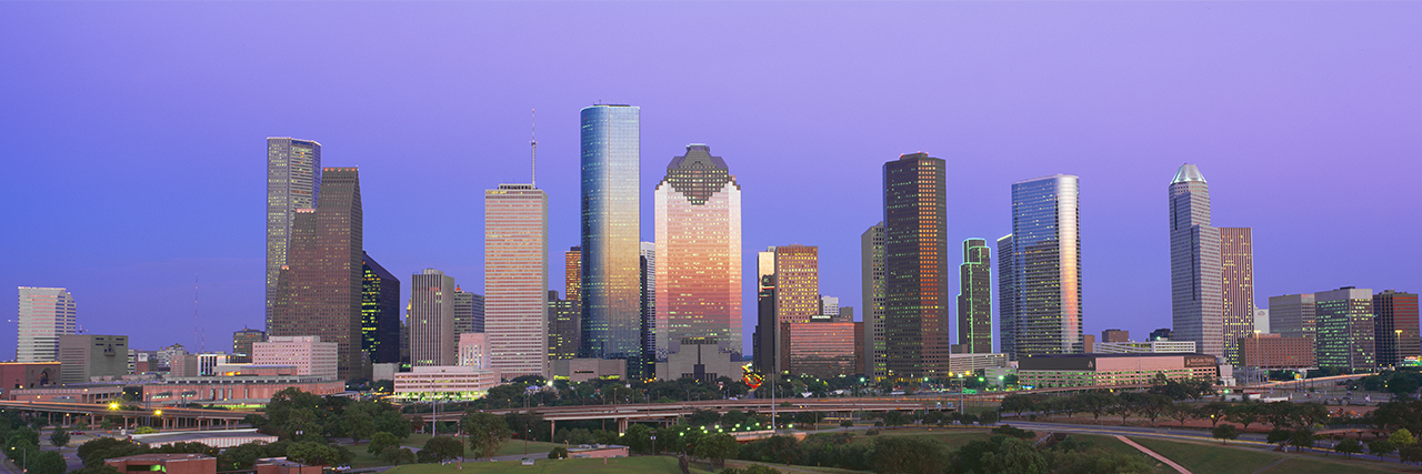 Photo of Houston skyline at sunset