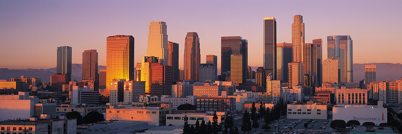Photo of Los Angeles skyline at sunset
