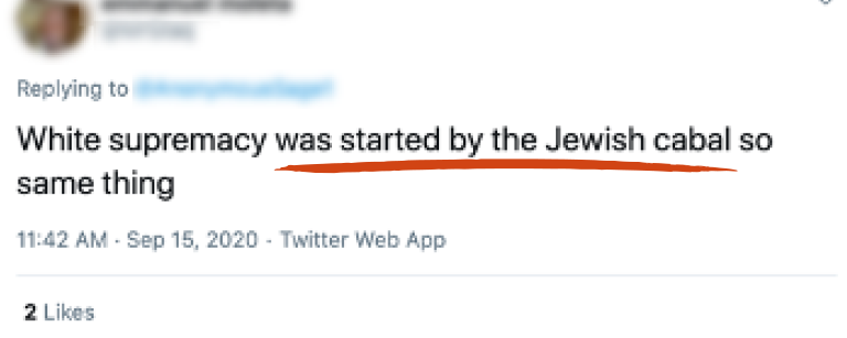 "Tweet reading ""White supremacy was started by the Jewish cabal so same thing"" with "" was started by the Jewish cabal"" underlined in red"