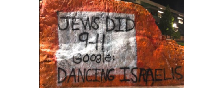"Photo of graffiti saying ""Jews did 9-11 Google: Dancing Israelis"""