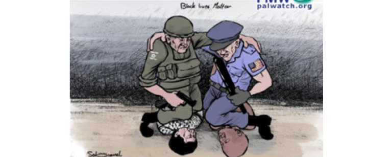 Graphic implying Israel is responsible for claims of American Police brutality and racism