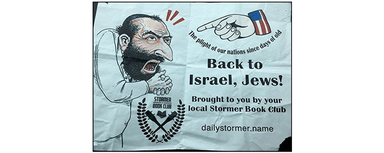 "Graphic displaying the smirking merchant saying ""Back to Israel, Jews! Brought to you by your local Stormer Book Club"""