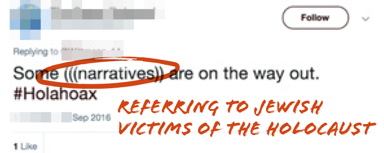 Tweet saying some (((narratives)) are on the way out #Holahoax with (((narrative)) circled in red with the caption referring to Jewish victims of the Holocaust