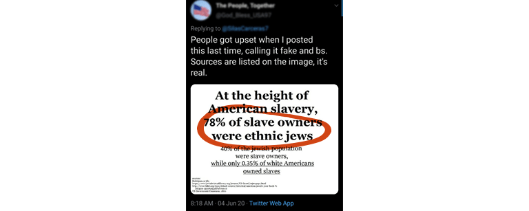 "Tweet saying: ""People go upset when I posted this last time, calling it fake and bs. Sources are listed on the image, it's real."" With a Twitter card saying, ""At the height of American slavery, 78% of slave owners were ethnic jews"" with 78% of slave owners were ethnic jews circled in red"