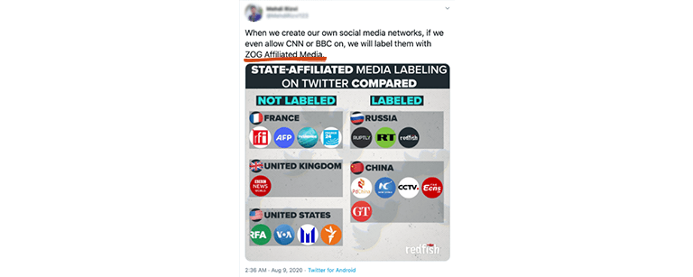 "Tweet saying, ""When we create our own social media networks, if we even allow CNN or BCC on, we will label them with ZOG Affiliated Media."" With Zog Affiliated Media underlined"
