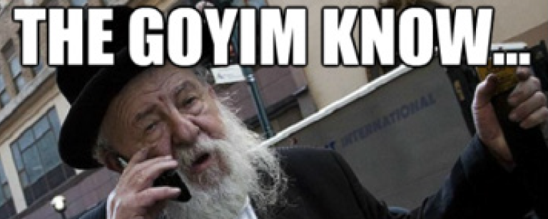 "Meme of a Hasidic Jewish man on a cellphone with the words ""The Goyim Know..."""