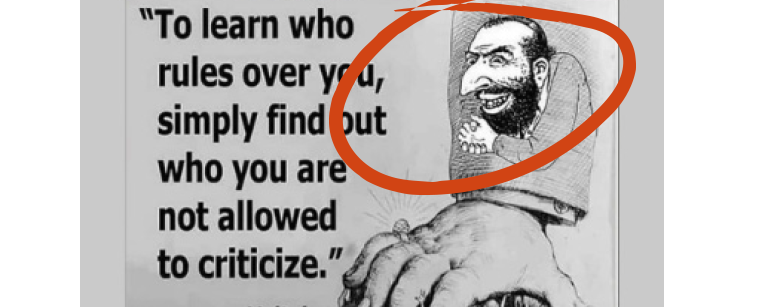 "Clipping of the smirking merchant with the quote ""To learn who rules over you, simply find out who you are not allowed to criticize"""