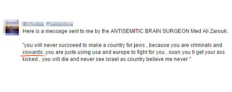 "Quoted Facebook message by ""antisemitic brain surgeon Med Ali Zarouk"""