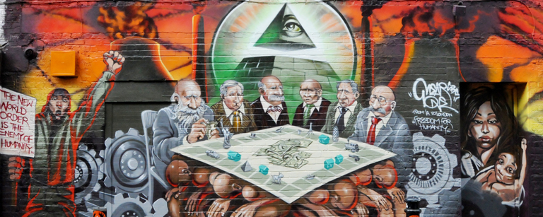 "Graffiti artist Mear One's ""Freedom for Humanity"" mural depicting white male capitalists, several who are Jewish (see Jewish features) as the enemy of the good."