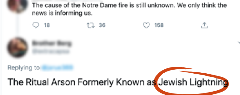 "Tweet saying ""The Ritual Arson Formerly Known as Jewish Lightning"" with ""Jewish Lightning"" circled in red"