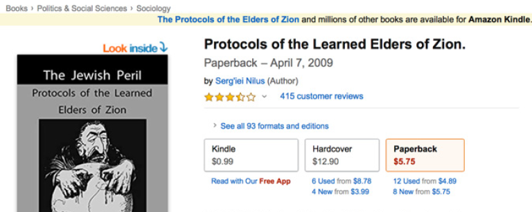 "Screenshot of the Amazon page for the ""Protocols of the Learned Elders of Zion"" book with a smirking merchant on the cover"