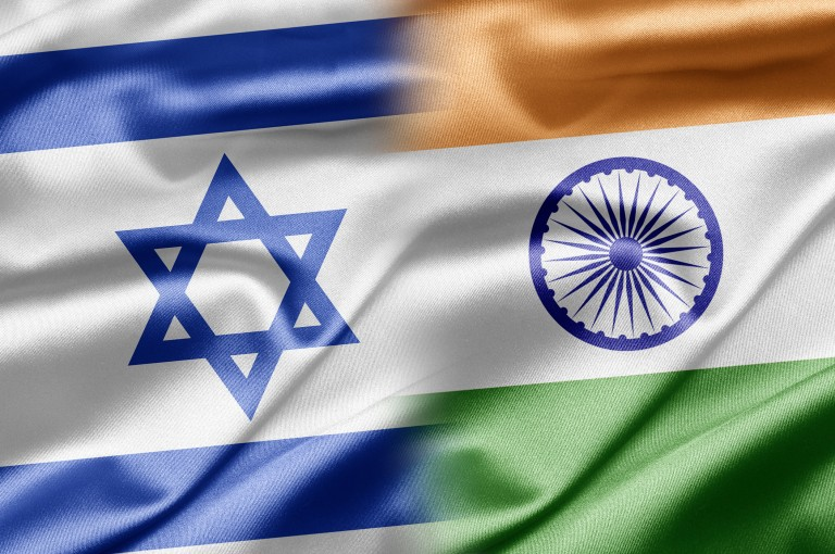 Photo of the Indian and Israeli Flags