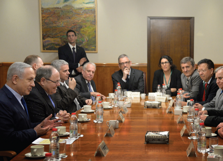 Photo of Israeli Prime Minister Benjamin Netanyahu meeting with a delegation of Brazilian parliamentarians