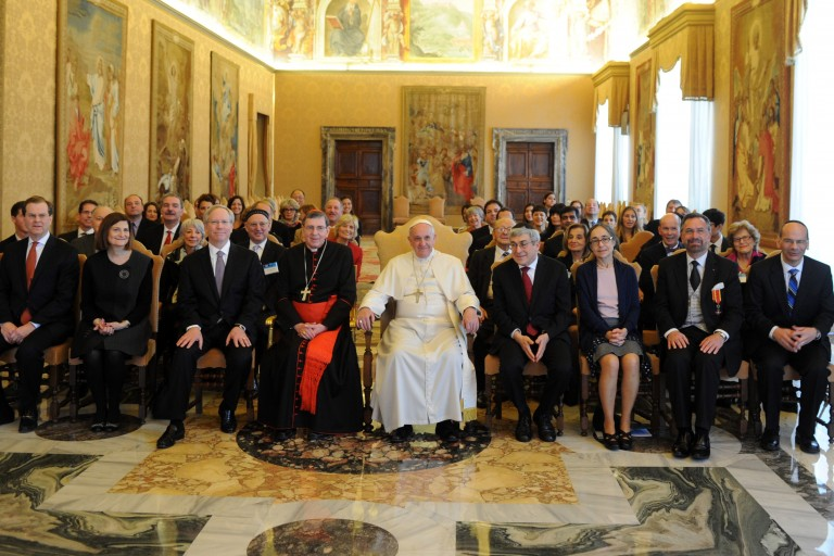 Photo of Pope Francis receiving an AJC delegation at the Vatican.