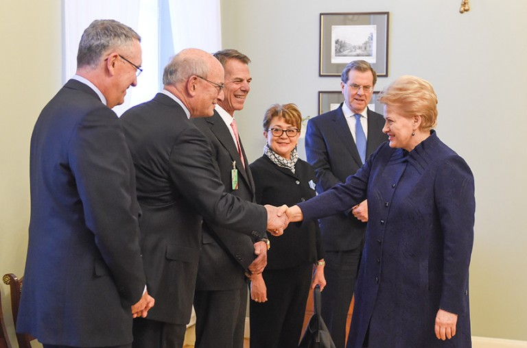 Photo of an AJC delegation meeting with Lithuanian President Dalia Grybauskaitė