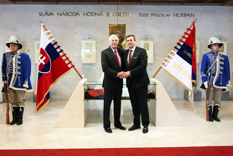 Photo of AJC President John Shapiro shaking hands with Andrej Danko, Speaker of the National Council of the Slovak Republic