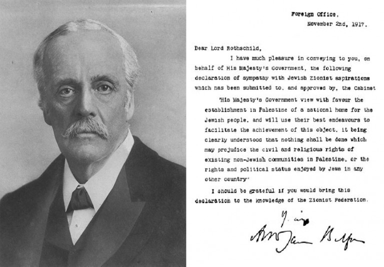 Photo of Balfour Declaration and Portrait